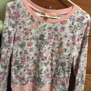 Pink Floral Long-Sleeve Light Sweater